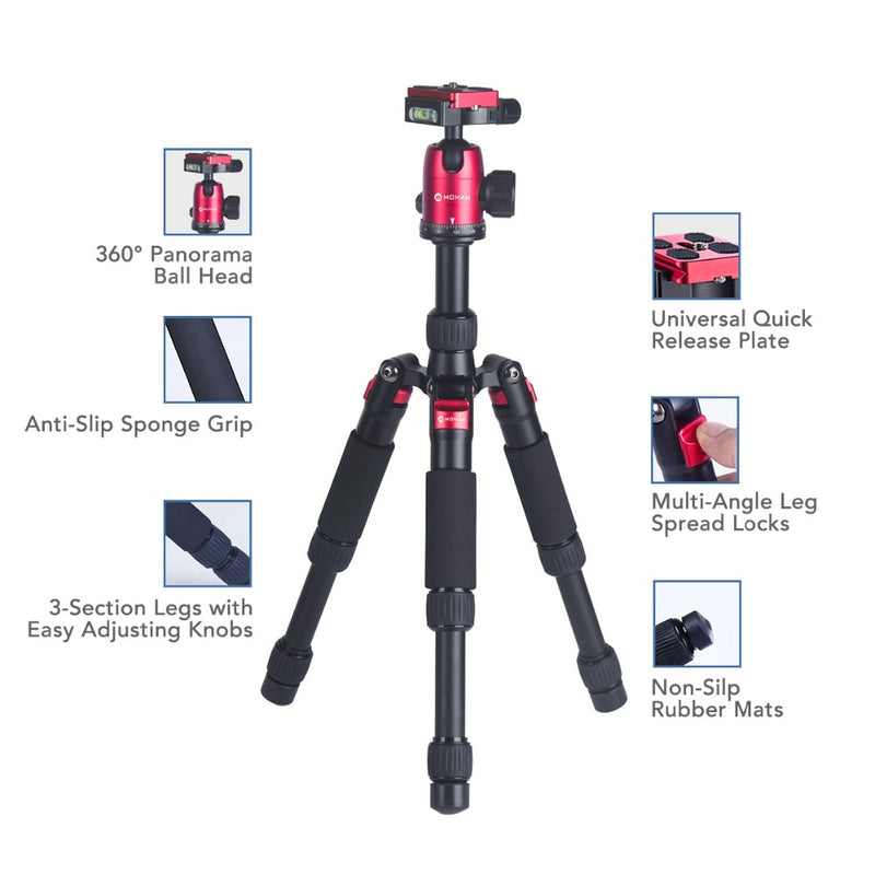 "Moman DT-02 20"" Portable Mini Compact Tabletop Tripod for Macro Photography with 360 Degree Ball Head"