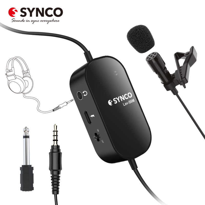SYNCO Lav-S6M Lavalier Microphones for Cameras / Smartphones Audio-Monitor Port Clip-on Mic Support