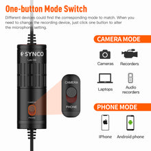 SYNCO Lav-S6P Lavalier Omnidirectional Condenser Microphone  Mic with 3.5mm to Type-C Adapter for DJI Osmo Pocket