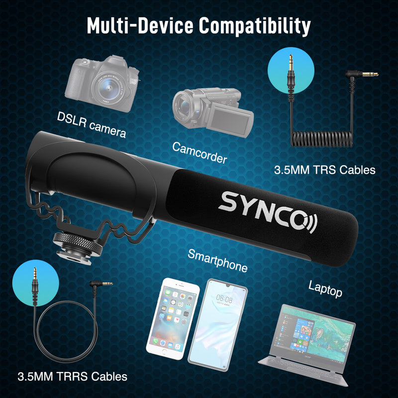 Synco Mic-M3 Shotgun Microphone with Gain Control for Cameras