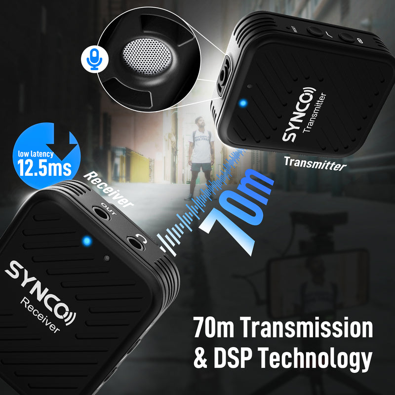 SYNCO G1(A1) 2.4GHz Wireless Lavalier Microphone System with One Transmitter for Smartphone and Camera