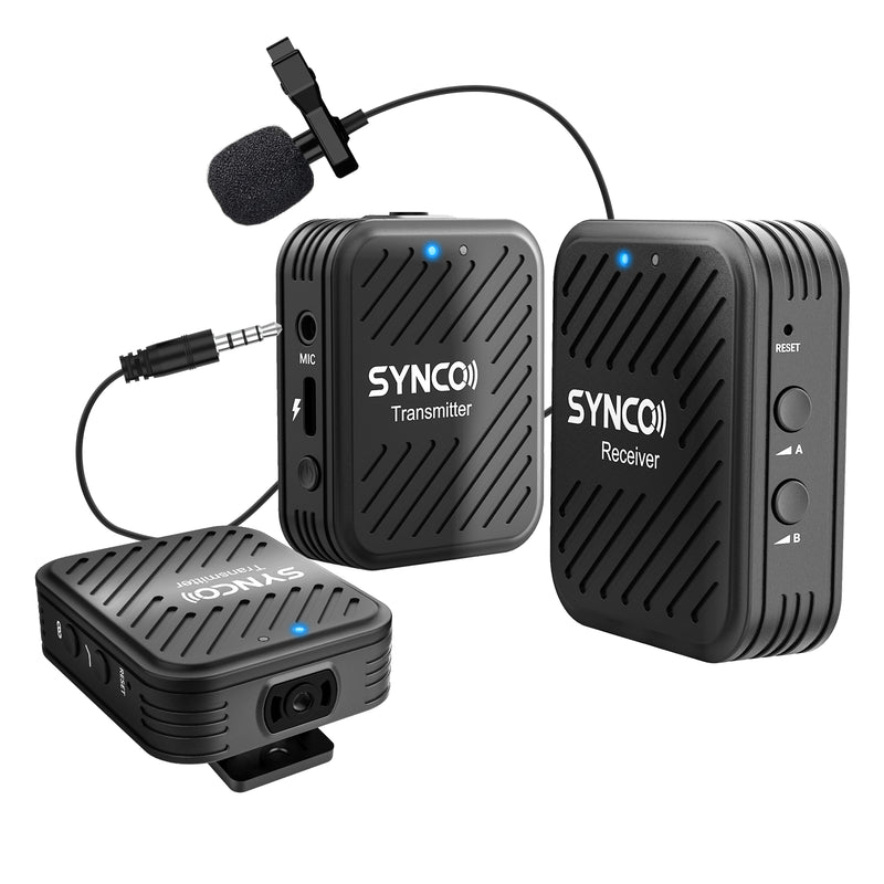 SYNCO G1(A2) 2.4GHz Wireless Lavalier Microphone System with 2 Transmitters for Smartphone and Camera