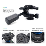 Moman VH-40 Camera Video Tripod Ball Head 360 Damping Single Handle with 1/4 Quick Release Plate for Tripod, Monopod, Cameras