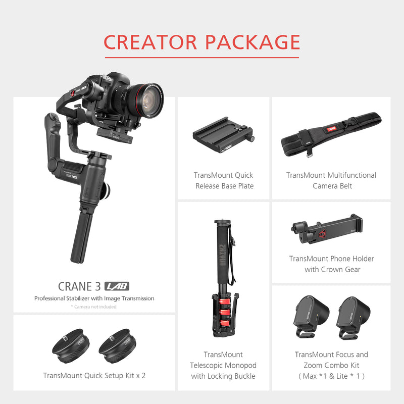 Zhiyun Crane 3 Lab 3 Axis Gimbal for DSLR Cameras