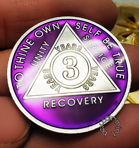 Launching February 2019, Rhodium Tri-Plate Sobriety Coins