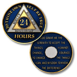 24 Hours - AA Tri-Plate Enameled Pocket Medallions - B E X Coin Mint & SOBRIETY INSPIRED by BEX