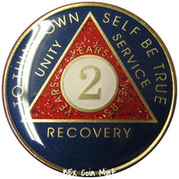 AA Coins for Sobriety, Patriotic Sparkle - B E X Coin Mint & SOBRIETY INSPIRED by BEX