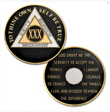 AA Traditional Proof-Like Bronze Tri-Plate – Gold, Nickel, and Black Enamel Pocket Medallion - B E X Coin Mint & SOBRIETY INSPIRED by BEX