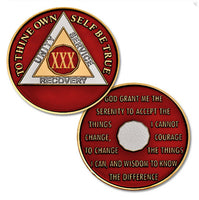 AA Traditional Proof-Like Bronze Tri-Plate – Gold, Nickel, and Red Enamel - B E X Coin Mint & SOBRIETY INSPIRED by BEX