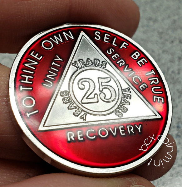 AA Coins for Sobriety, Ruby Red Jewel Color in Rhodium Finish - B E X Coin Mint & SOBRIETY INSPIRED by BEX
