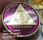 AA Coins for Sobriety, Amethyst Jewel Color - B E X Coin Mint & SOBRIETY INSPIRED by BEX