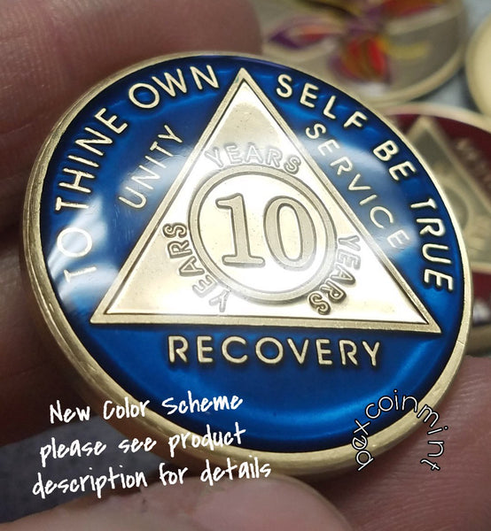 AA Coins for Sobriety, Sapphire Blue Jewel Color - B E X Coin Mint & SOBRIETY INSPIRED by BEX