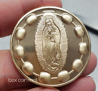 Golden Pocket Rosary Medallion Coin - B E X Coin Mint & SOBRIETY INSPIRED by BEX