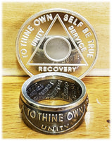 Personalized Sobriety rings made from coin silver