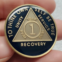 Midnight Blue Sobriety Coin, Limited Edition, Sobriety Inspired