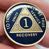 AA Coins for Sobriety, Limited Edition Dark Midnight Blue - B E X Coin Mint & SOBRIETY INSPIRED by BEX