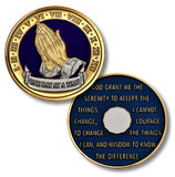 One Day At A Time, Praying Hands Pocket Medallion - B E X Coin Mint & SOBRIETY INSPIRED by BEX