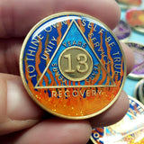AA Coins for Sobriety, Sunrise Fire - B E X Coin Mint & SOBRIETY INSPIRED by BEX