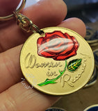 Women In Recovery Rose Affirmation Sobriety Token Key Chain - B E X Coin Mint & SOBRIETY INSPIRED by BEX