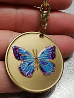 Serenity Prayer Blue Sparkle Butterfly Affirmation Sobriety Coin Key Chain - B E X Coin Mint & SOBRIETY INSPIRED by BEX