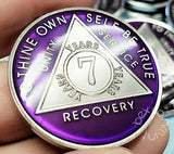 AA Coins for Sobriety, Amethyst Purple Jewel Color in Rhodium Finish - B E X Coin Mint & SOBRIETY INSPIRED by BEX