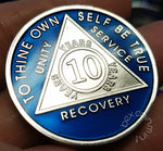 AA Coins for Sobriety, Sapphire Blue Jewel Color in Rhodium Finish - B E X Coin Mint & SOBRIETY INSPIRED by BEX
