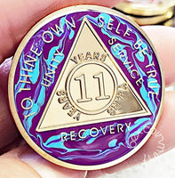 AA Coins for Sobriety, Golden Marble - B E X Coin Mint & SOBRIETY INSPIRED by BEX