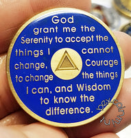 AA Coins for Sobriety, Royal Blue - B E X Coin Mint & SOBRIETY INSPIRED by BEX