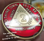 AA Coins for Sobriety, Ruby Red Jewel Color - B E X Coin Mint & SOBRIETY INSPIRED by BEX
