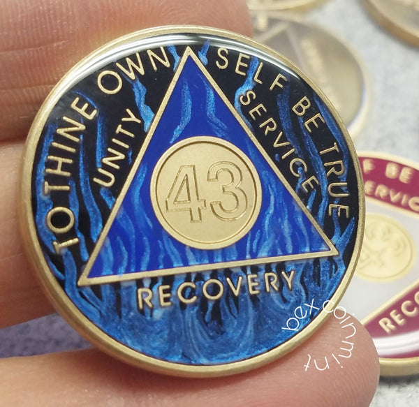 Custom Engraved Blue Fire Tri Plate Sobriety Coins - B E X Coin Mint & SOBRIETY INSPIRED by BEX