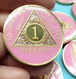 AA Coins for Sobriety, Pink Rose - B E X Coin Mint & SOBRIETY INSPIRED by BEX