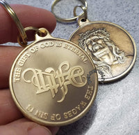 God is Eternal Life Medallion Key Chain - B E X Coin Mint & SOBRIETY INSPIRED by BEX