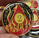 AA Coins for Sobriety, Red Fire - B E X Coin Mint & SOBRIETY INSPIRED by BEX