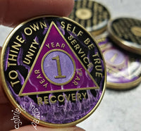 AA Coins for Sobriety, Purple Fire - B E X Coin Mint & SOBRIETY INSPIRED by BEX