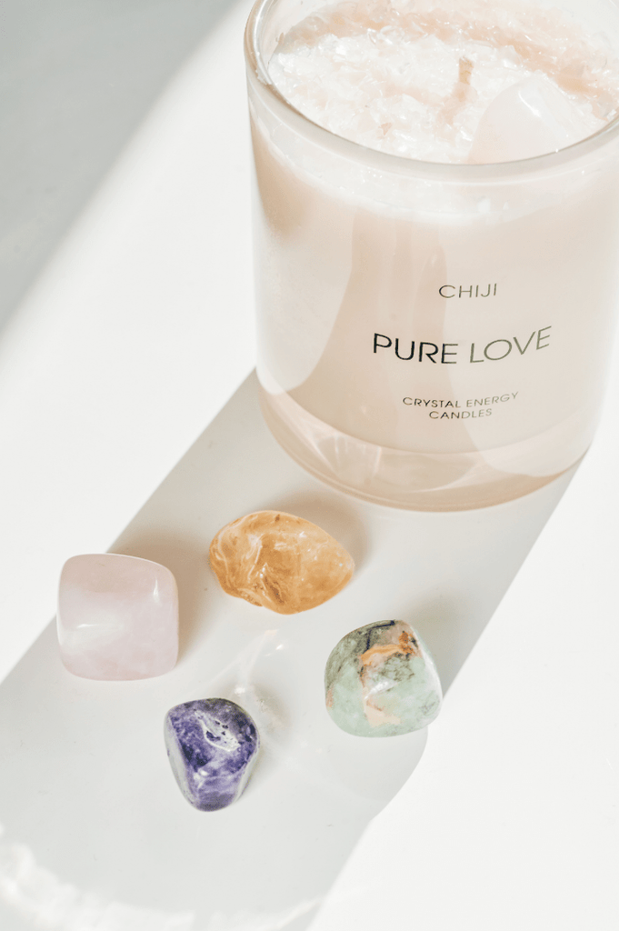 Pure Love Crystal Energy Candle® - Made With Rose Quartz