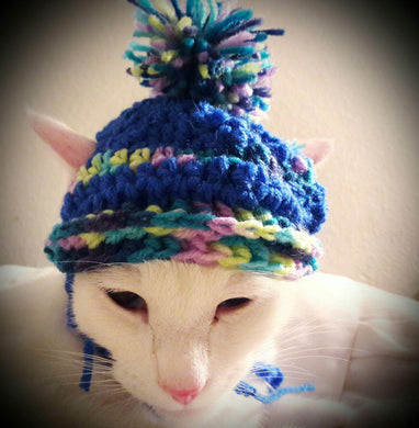 Handmade crochet cat pom pom hat