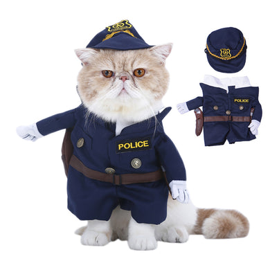 Cat Standing Policeman Costume Suit