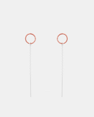 CA Jewellery Silver & Rose Thread Earrings