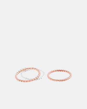 CA Jewellery Silver & Rose Ring Set