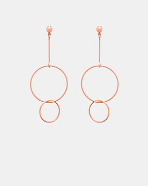 CA Jewellery Circle Drop Earrings - Rose Gold