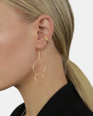 CA Circle Drop Earrings - Gold