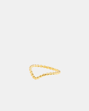 CA Jewellery Gold Twist Chevron Ring