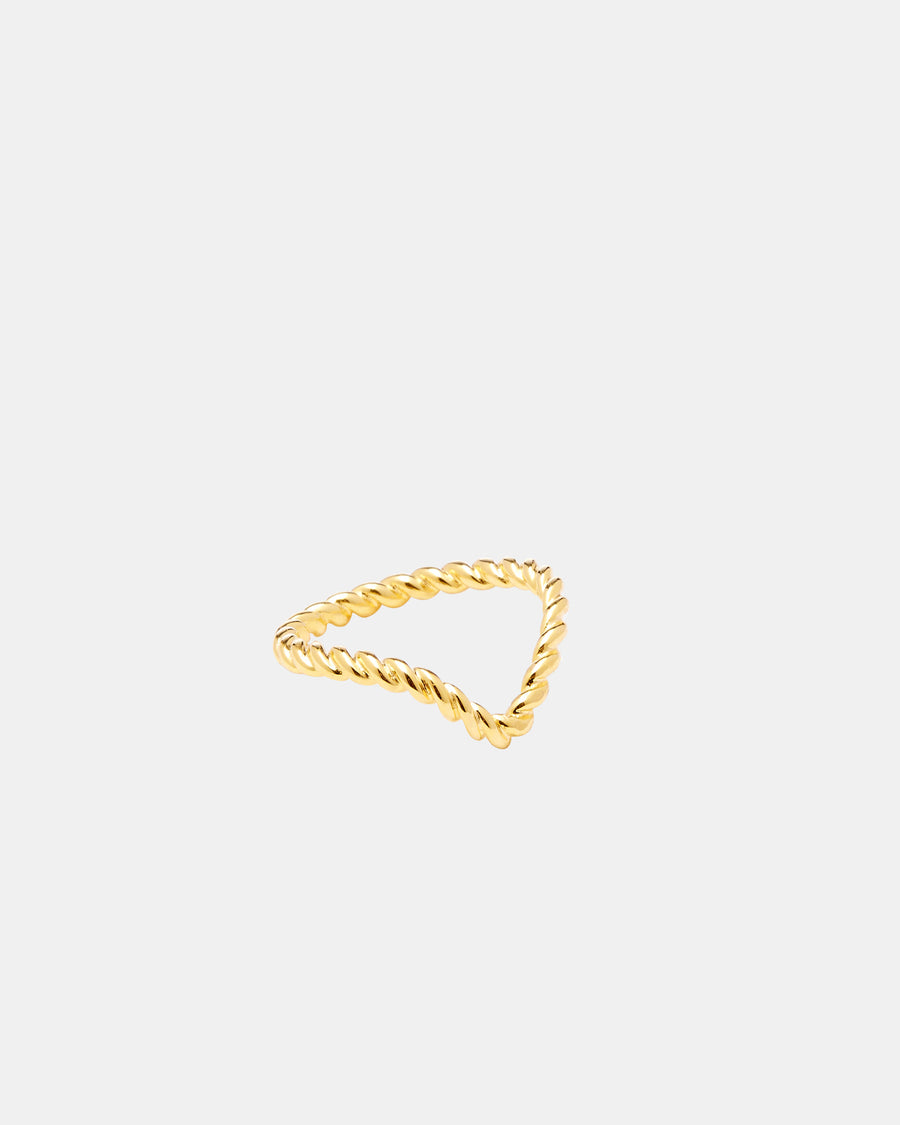 Gold Midi Chevron Ring