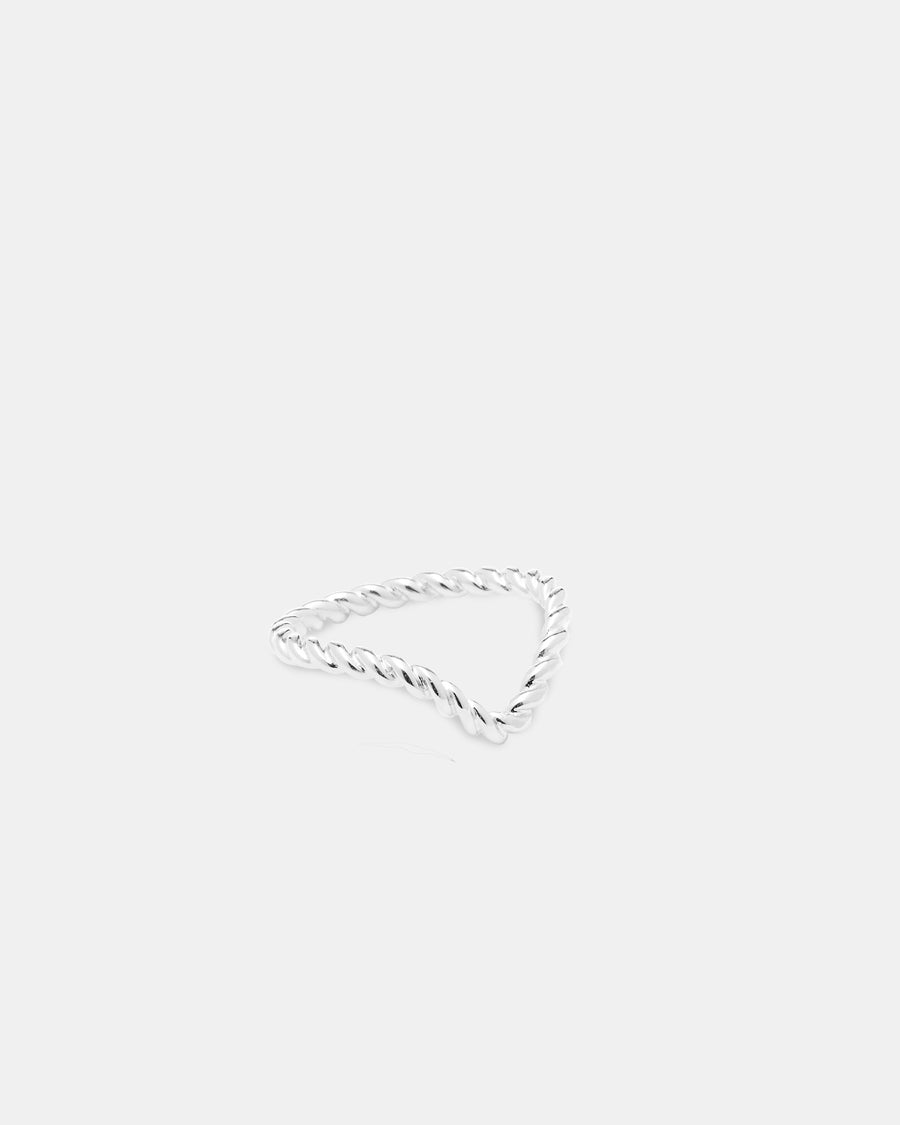 Silver Midi Chevron Ring