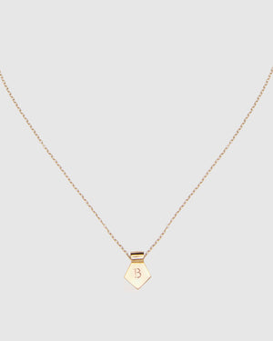 Letter B Pendant Necklace - Gold