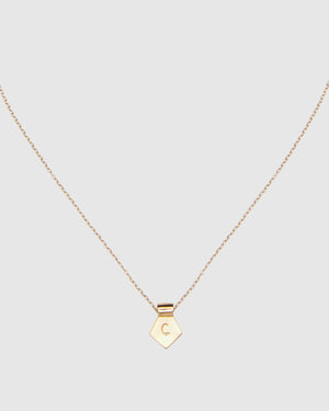 Letter C Pendant Necklace - Gold