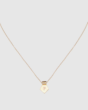 Letter P Pendant Necklace - Gold