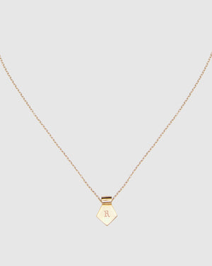Letter R Pendant Necklace - Gold