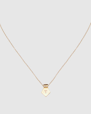 Letter T Pendant Necklace - Gold