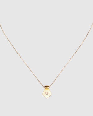 Letter U Pendant Necklace - Gold